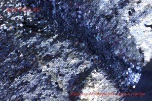 Ткань пайетки двухсторонние цвет синий/серебро