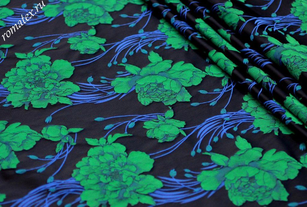 Ткань жаккард тафта «китайская роза» цвет темно-синий зеленые цветы