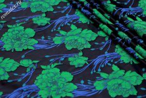 Ткань тафта жаккард «китайская роза» цвет тёмно-синий зеленые цветы