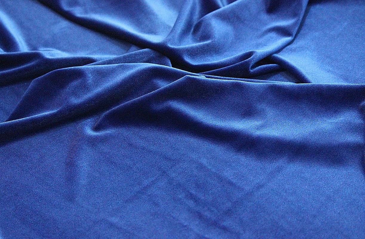Ткань бархат стрейч цвет васильковый
