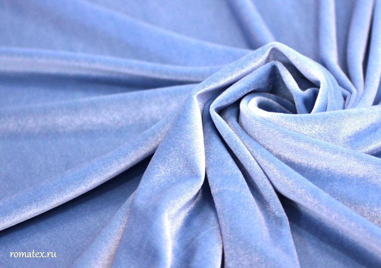 Ткань бархат стрейч цвет светло-голубой