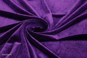 Швейная ткань бархат стрейч цвет фиолетовый