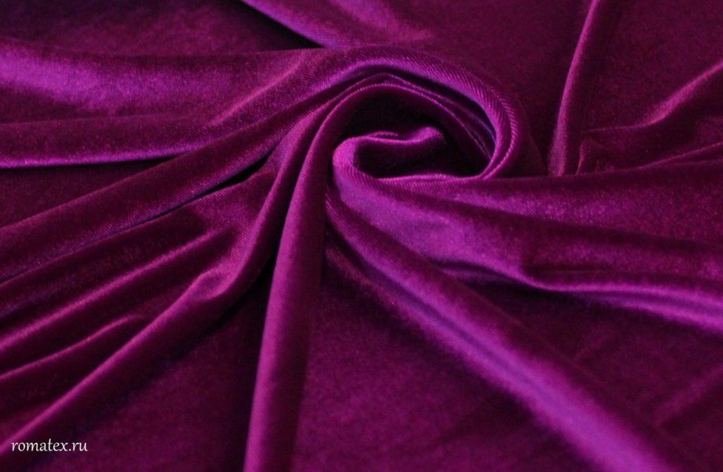 Ткань бархат стрейч цвет фуксия