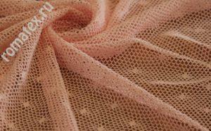 Ткань сетка «ажур» цвет персиковый
