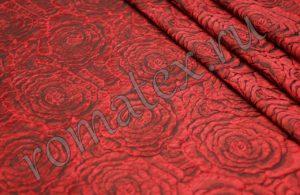 Ткань тафта жаккард «роза» цвет красный