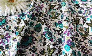 Ткань поплин русский узор цвет бирюзовый