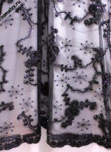 Ткань сетка вышивка с фистонами цвет чёрный