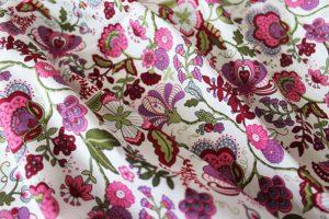 Ткань поплин русский узор цвет малиновый