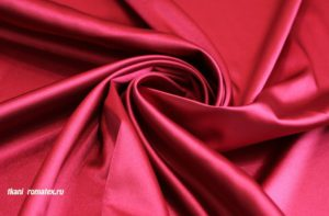 Двусторонняя ткань атлас стрейч цвет красный