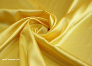 Ткань атлас стрейч цвет желтый