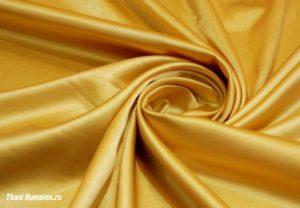 Двусторонняя ткань атлас стрейч цвет золотой
