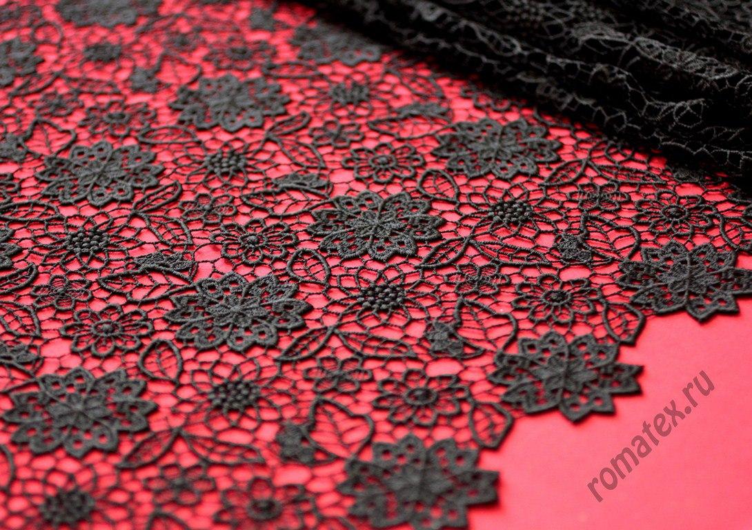 Ткань кружево италии цвет черный