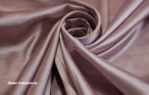Двусторонняя ткань атлас стрейч цвет пыльная роза
