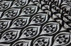 Портьерная ткань жаккард цвет черно-белый