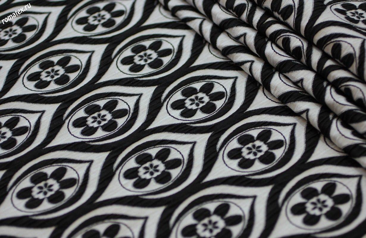 Ткань жаккард цвет черно-белый