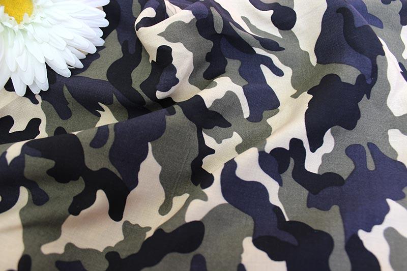 Ткань штапель камуфляж цвет хаки