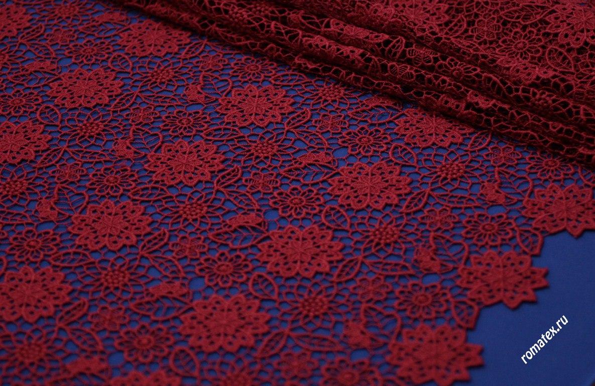 Ткань кружево италии цвет бордовый