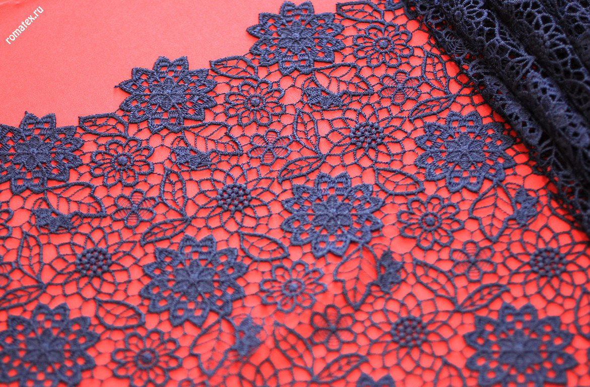 Ткань кружево италии цвет темно-синий