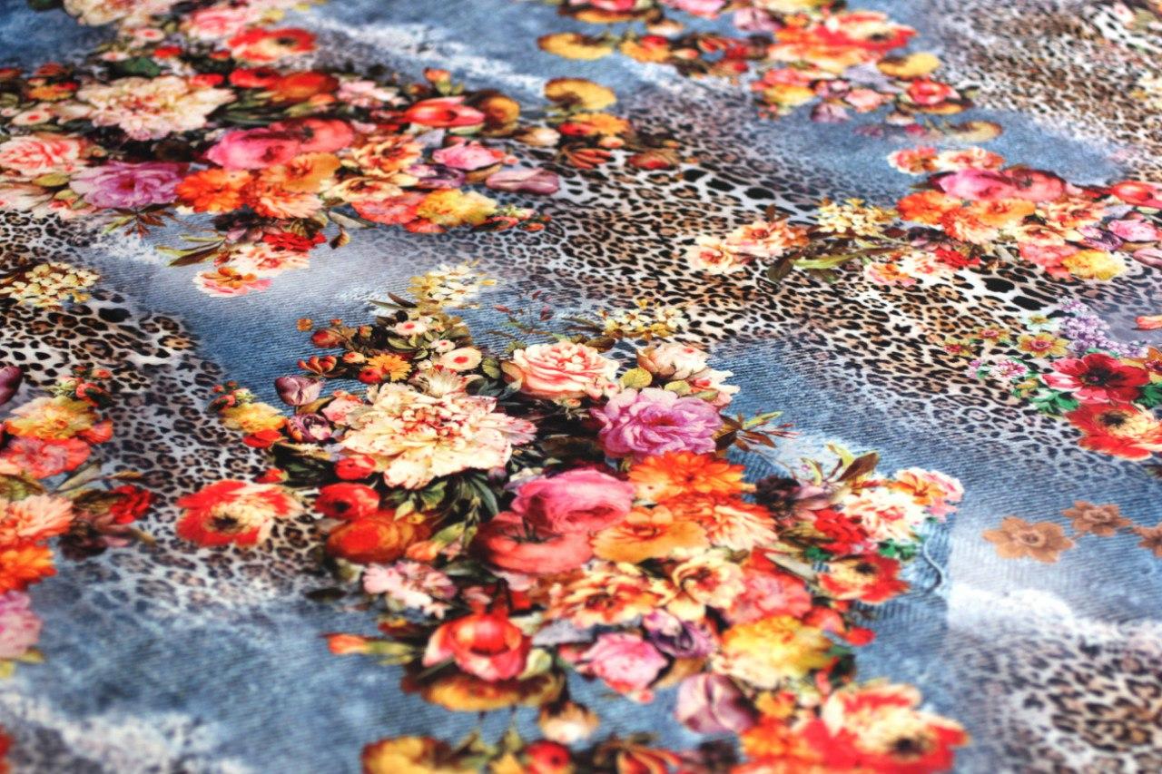 Ткань джерси блеск леопард цветы