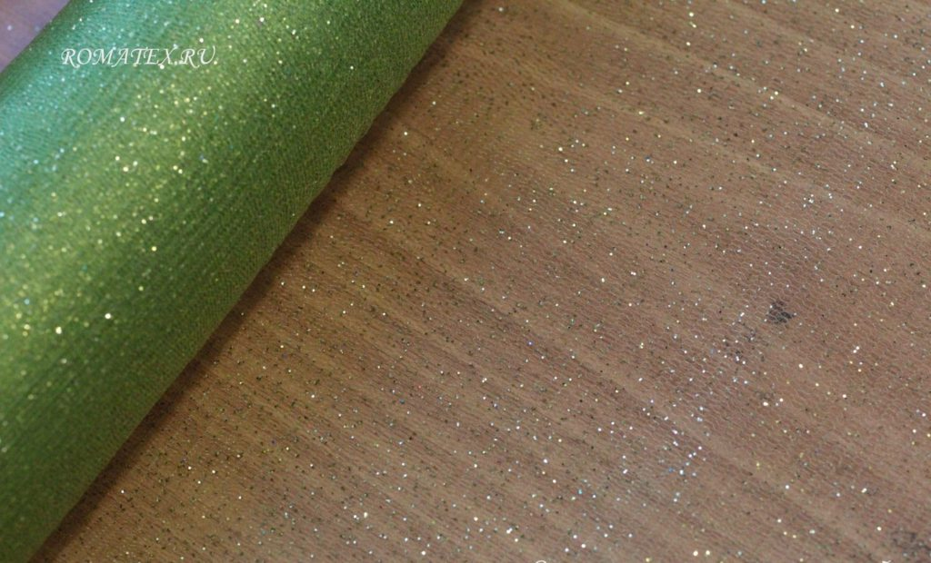 Ткань сетка глиттер цвет салатовый