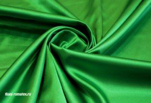 Ткань атлас стрейч цвет изумрудный