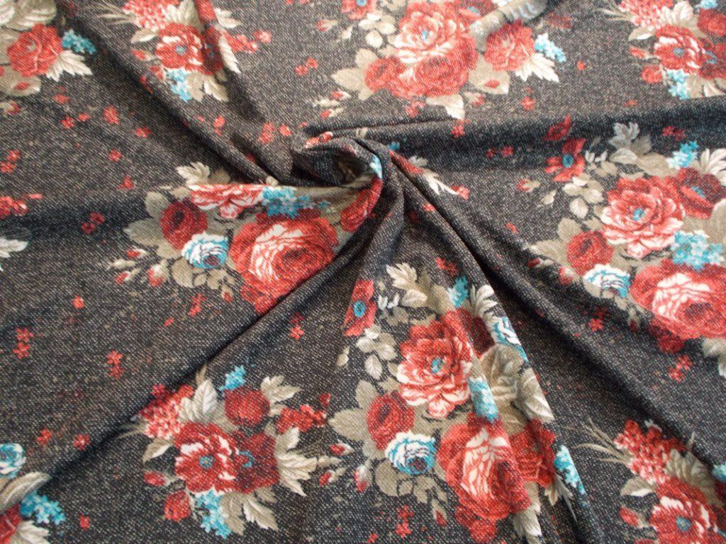 Ткань милано принт розы цвет черный
