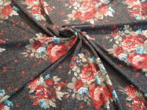 Антивандальная диванная ткань милано принт розы цвет черный