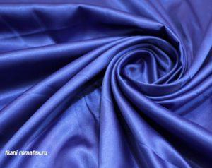 Двусторонняя ткань атлас стрейч цвет васильковый