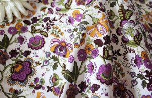 Ткань поплин русский узор цвет фуксия