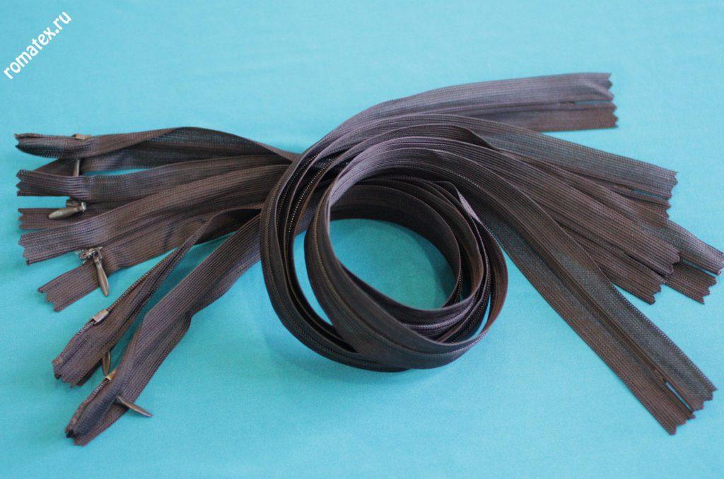 Молния потайная цвет коричневый