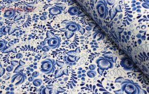 Ткань для шитья габардин гжель