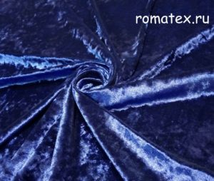 Ткань бархат крэш цвет синий