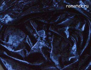 Ткань бархат крэш цвет тёмно-синий