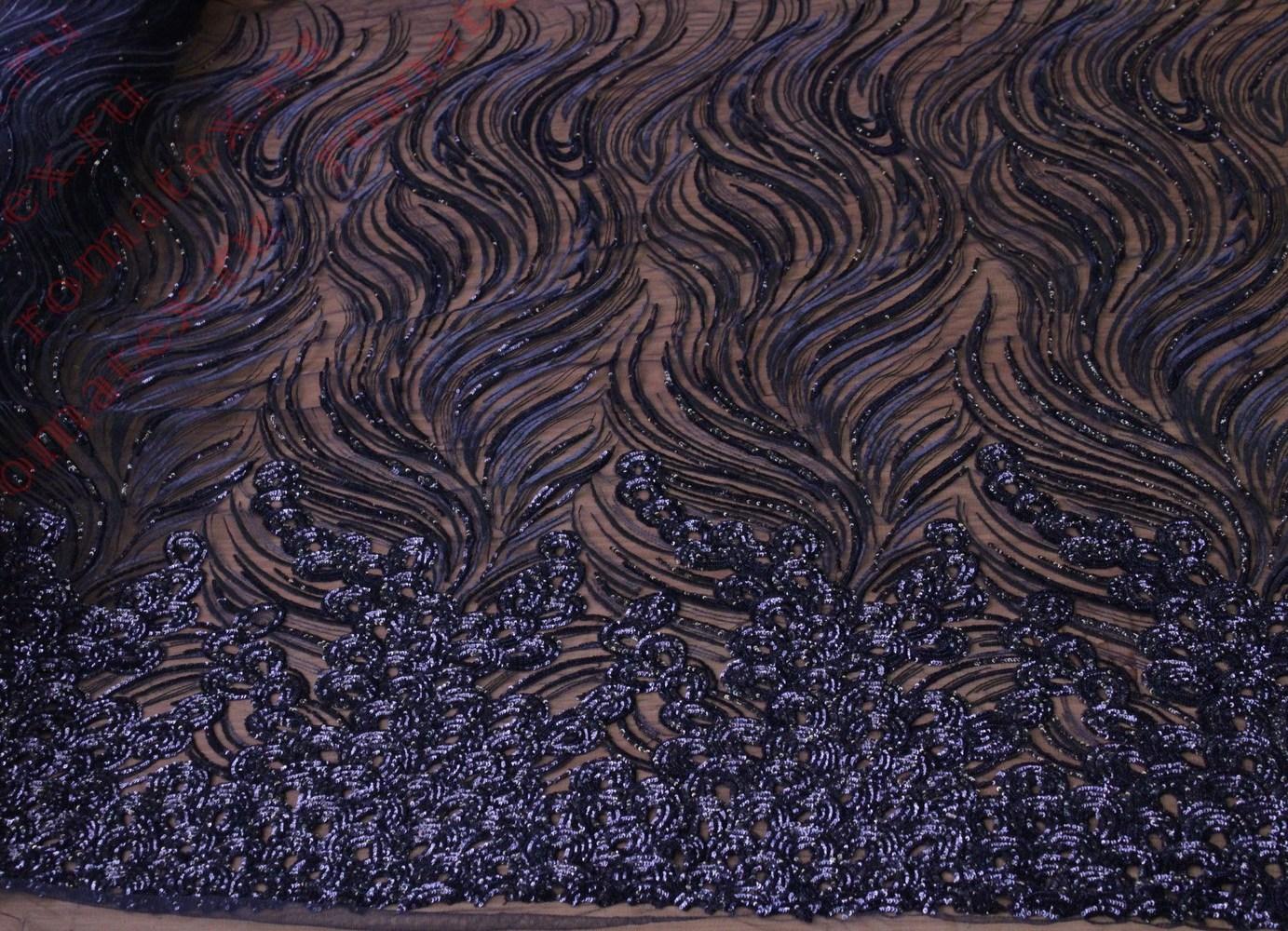 Ткань пайетки декор купон цвет чёрный