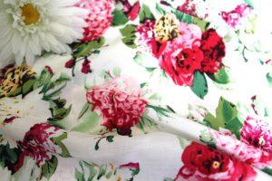 Ткань штапель букет цвет красный-зелёный