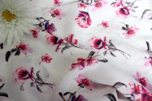 Ткань штапель букет цвет розовый-серый