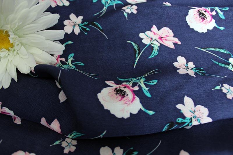 Ткань штапель цветок цвет синий
