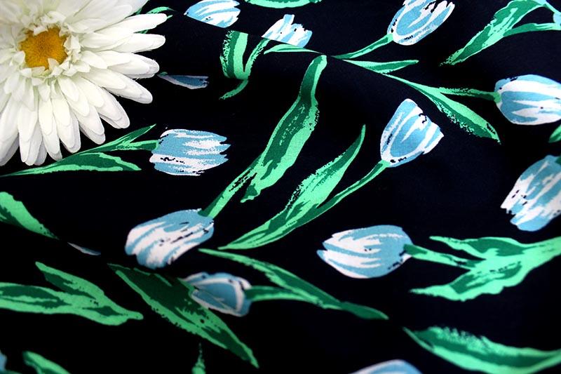 Ткань штапель тюльпан голубой