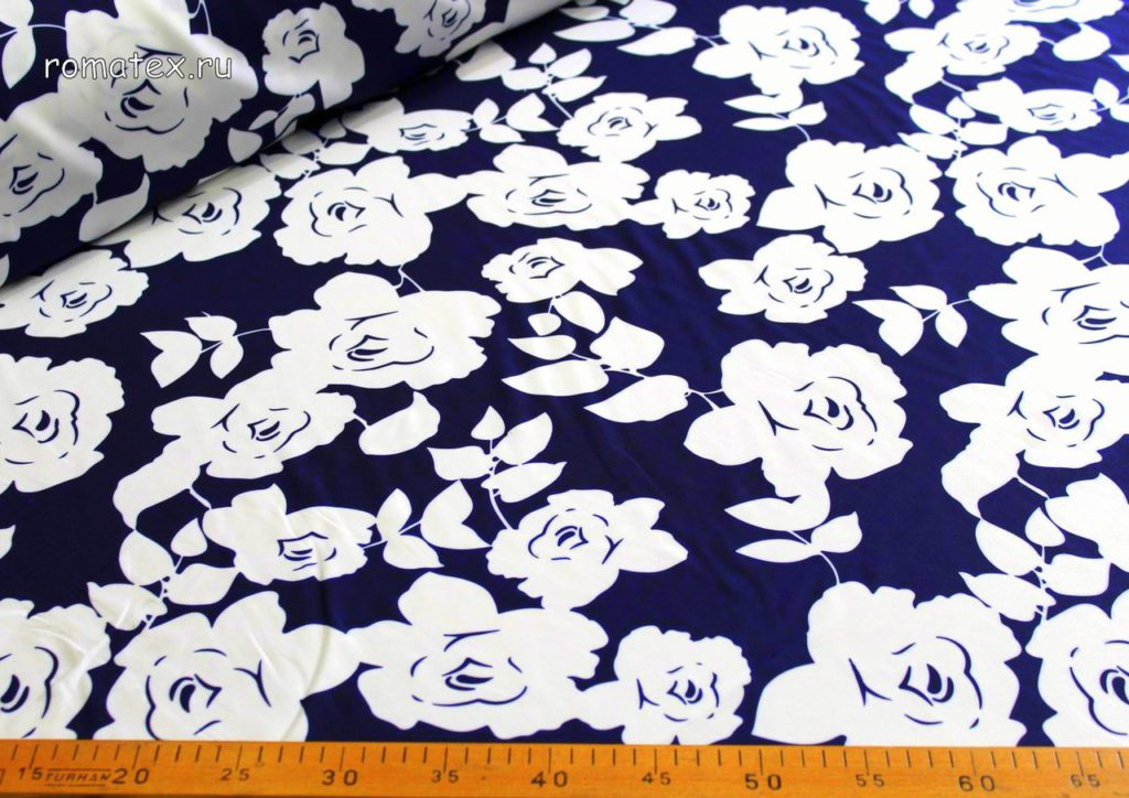 Ткань барби принт розы цвет темно-синий