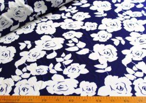 Ткань барби принт розы цвет тёмно-синий