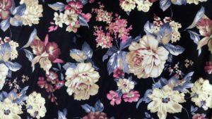 Ткань джинс стрейч букет цвет черный