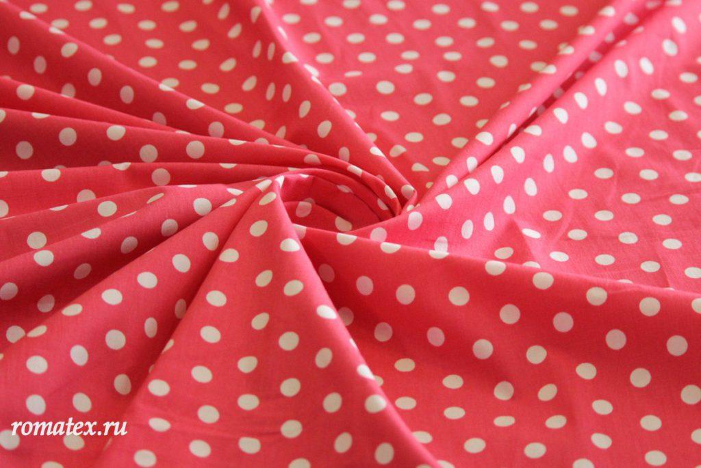 Ткань хлопок горох цвет розовый