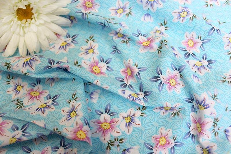 Поплин принт D234 цвет голубой