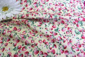 Ткань поплин клубника цвет бежевый