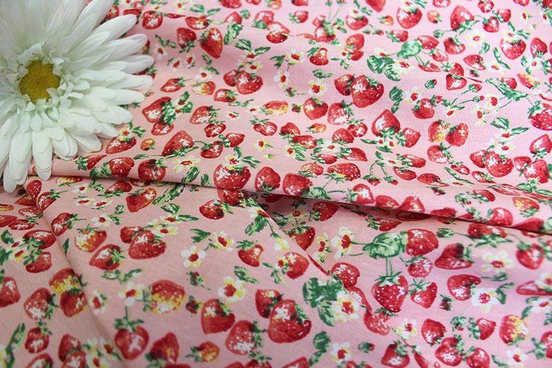 Ткань поплин клубника цвет розовый