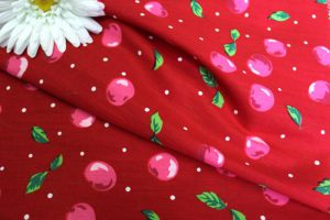 Ткань поплин вишня цвет красный