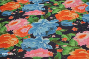 Ткань для платков шифон принт цвет темно-синий