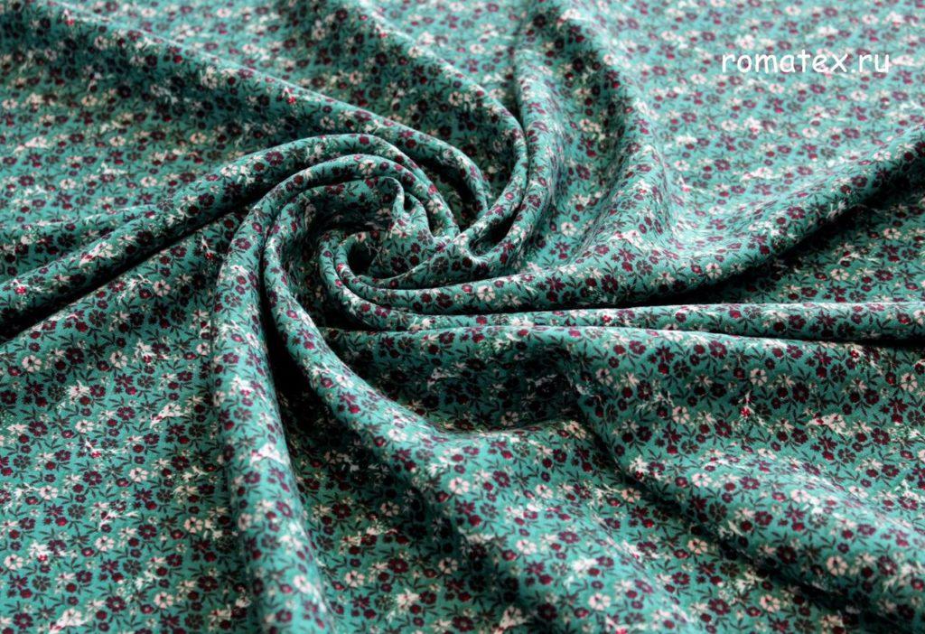 Ткань штапель цветок мелкий цвет зелёный