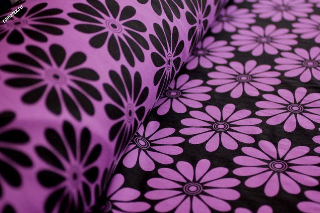 Ткань жаккард «ромашки» цвет фиолетовый