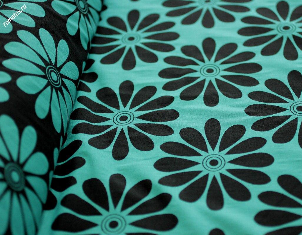 Ткань жаккард «ромашки» цвет изумрудный